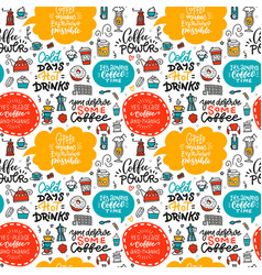Cafe seamless pattern with doodle coffee tea vector