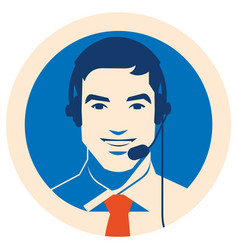 Call center operator with headset icon client vector