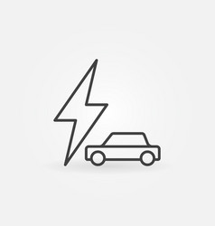 car with lightning icon - electric car vector image