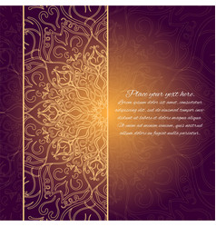 card with glow mandala gold invitation card vector image