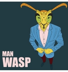 Cartoon character wasp vector