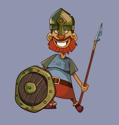 cartoon joyful man in a knights armor with a vector image