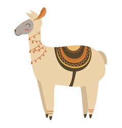 Cartoon lama indian a cute vector