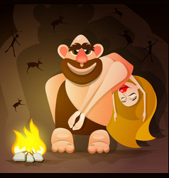 cavemen family vector image