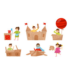 Children play with cardboard items vector