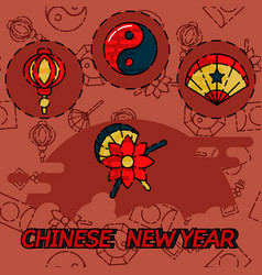 Chinese new year flat concept icons vector
