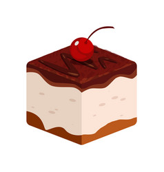 chocolate cake icon with cherry of vector image