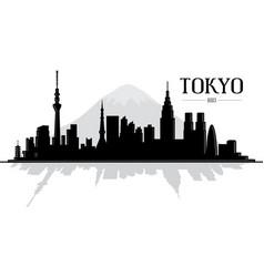 city tokyo japan skyline silhouette vector image
