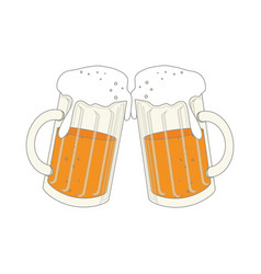 color silhouette with foamy beer glass vector image