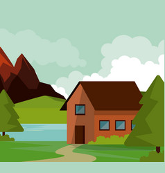 Colorful background of natural landscape with vector