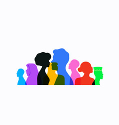 Colorful diverse people team profile silhouette vector