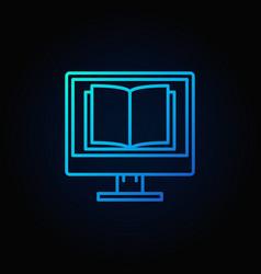 Computer screen with open book vector