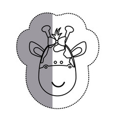 Contour face giraffe ribbon bow head icon vector
