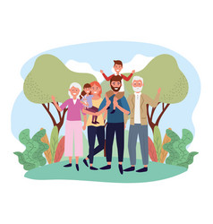 Cute man and woman with their kids and parents vector