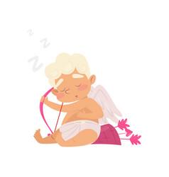 cute sleeping angel cartoon character of baby boy vector image