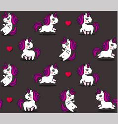 cute unicorns and hearts seamless pattern on dark vector image