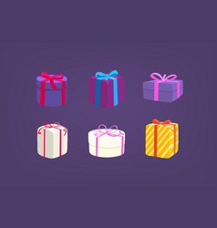 different color gift boxes set isolated on purple vector image