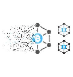 Disintegrating pixelated halftone bitcoin finance vector