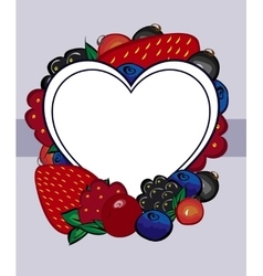 drawn berries label heart vector image