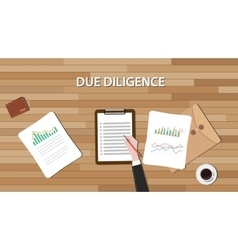 Due diligence business review with paper document vector