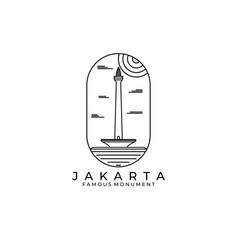 Famous monument logo design jakarta icon symbol vector