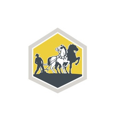 Farmer and Horses Plowing Field Crest Retro vector image