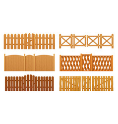 fence or wooden gates wood wall barrier boards vector image