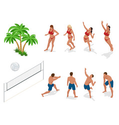 Figures of people when playing volleyball beach vector