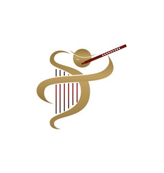 flute and harp vector image