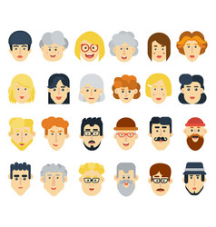 funny flat avatars icons set positive male and vector image
