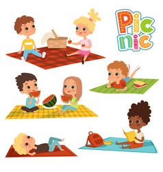 funny kids in park picnic concept pictures vector image
