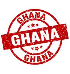 Ghana red round grunge stamp vector