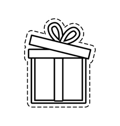 Gift box ribbon event celebrate open cut line vector