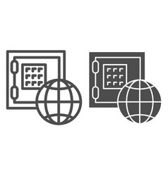 global economy line and glyph icon safe box and vector image