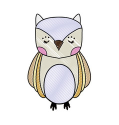 Grated cute owl wild animal of the forest vector