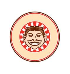 Grinning funny face mascot circle retro vector