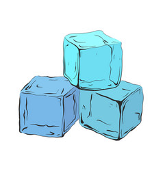 Hand drawn blue ice cubes vector