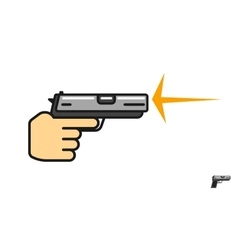 Hand holding gun shooting vector