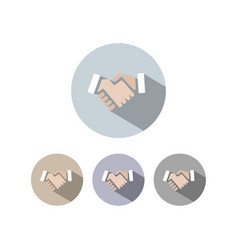 Handshake icon with shadow on colored circles vector