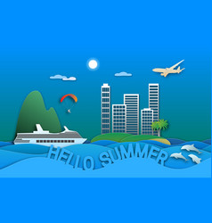hello summer travel in paper cut style sea vector image