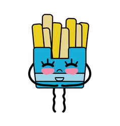 Kawaii cute happy fries french food vector