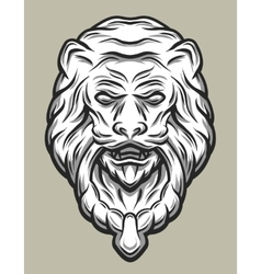 Lion head door knocker line art style vector