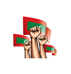 Maldives flag and hand on white background vector