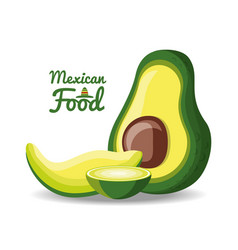 Mexican cuisine dish made with avocado vector