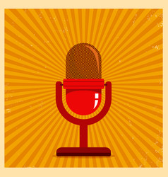 microphone on yellow retro background vector image