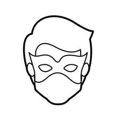 Monochrome thick contour head of faceless kid vector
