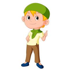 Muslim boy standing vector
