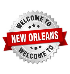 New Orleans 3d silver badge with red ribbon vector