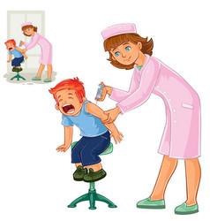 Nurse doing an inoculation to a small boy vector