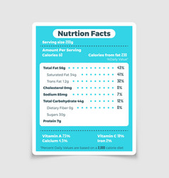 Nutrition facts food ingredients and vitamins vector